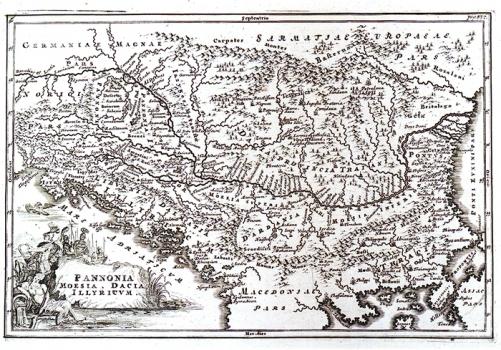 CHRISTOPHORUS CELLARIUS - KARTA PANONIJE, MEZIJE, DACIJE I ILIRIKA