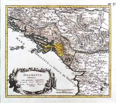 JOHANN CHRISTOPH WEIGEL - KARTA DALMACIJE I ALBANIJE