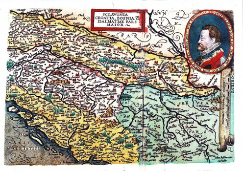 JOHANN BUSSEMACHER - KARTA SLAVONIJE, HRVATSKE, BOSNIJE I DALMACIJE
