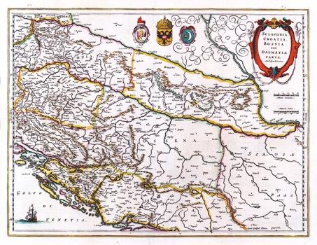 GERHARD MERCATOR – KARTA SLAVONIJE, HRVATSKE, BOSNE I DIJELA DALMACIJE