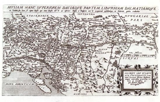 AUGUSTIN HIRSCHVOGEL – KARTA ILIRIKA  I SLAVONIJE