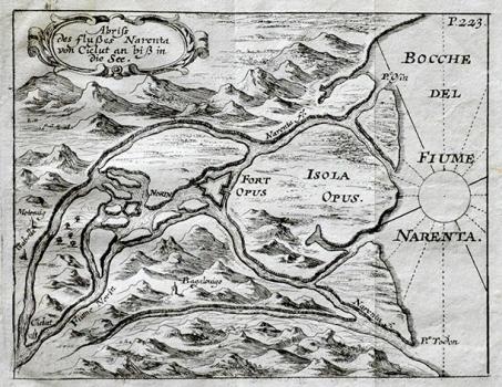 JACOB VON DE SANDRART – KARTA UŠĆA RIJEKE NERETVE, 1678