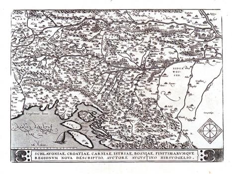 AUGUSTIN HIRSCHVOGEL – KARTA SLAVONIJE, HRVATSKE, KRANJSKE, ISTRE I BOSNE