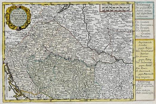 JOHANN GEORG SCHREIBER – KARTA HRVATSKE, SLAVONIJE I VELIKOG DIJELA BOSNE