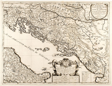 GIACOMO CANTELLI DA VIGNOLA – KARTA DALMACIJE, ISTRE, BOSNE, SRBIJE I HRVATSKE