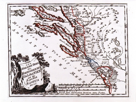 FRANZ JOHANN JOSEPH VON REILLY – KARTA JUŽNE DALMACIJE S DUBROVAČKOM REPUBLIKOM
