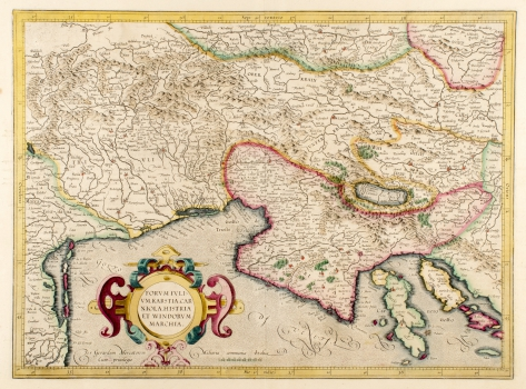 GERHARD MERCATOR – KARTA FURLANIJE, KRASA, KRANJSKE, ISTRE I SLOVENSKE MARKE