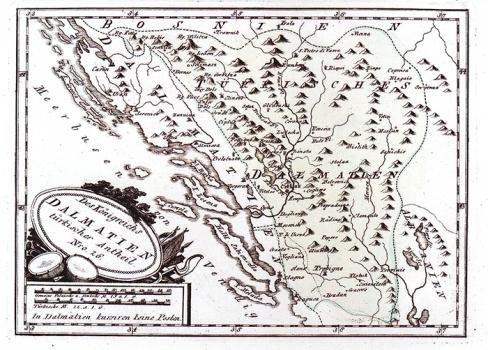 FRANZ JOHANN JOSEPH VON REILLY – KARTA TURSKE DALMACIJE